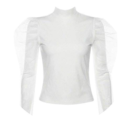 Transparent mesh Patchwork Blouse Shirt Streetwear Puff Sleeve Retro Tops Female,White,M