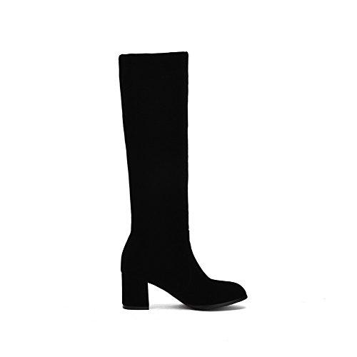 VogueZone009 Damen Mittler Absatz Rein Mattglasbirne Ziehen auf Stiefel Schwarz