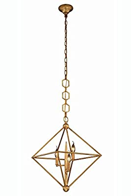"""Elegant Lighting 1495D22GI Nora Collection Pendant Lamp D22"""" H24"""" 3-Light"""