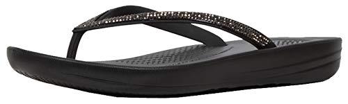 FitFlop Women's IQUSHION Sparkle Flip-Flop, Black, US06 M US