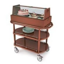 (Lakeside Geneva Wood Veneer Spice Finish Square Dessert and Pastry Cart, 21 5/8 x 43 3/8 x 47 1/4 inch Overall Size - 1 each.)