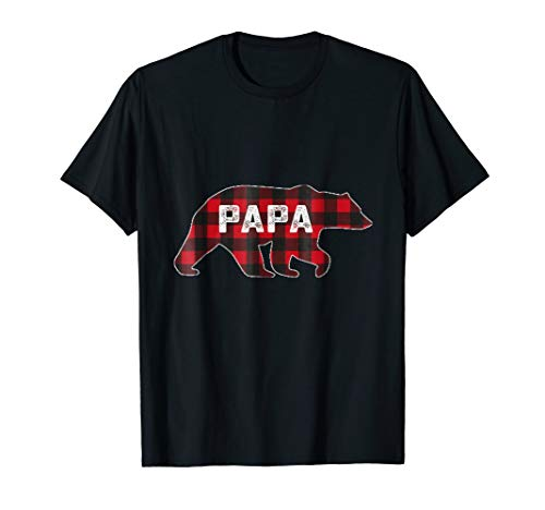 Papa Bear Flannel - Red Plaid Papa Bear Buffalo Matching Family Pajama T-Shirt