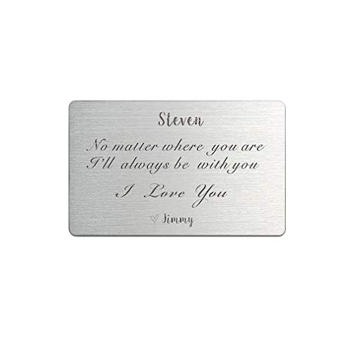 Wallet Card Anniversary Gifts for Men Engraved 3rd Anniversary Gift Idea Wallet Mini Love Note Boyfriend Husband Gifts Custom Message (I love you wallet insert card) (Ideas Gift Third Anniversary)