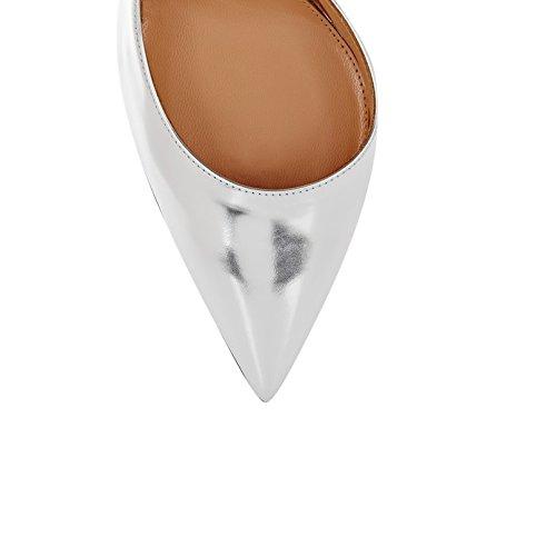 Chaussures Haut A Talon Pointu Escarpins 10cm Bout Femme Enfiler Argent Aiguille EDEFS w7qfvUHT