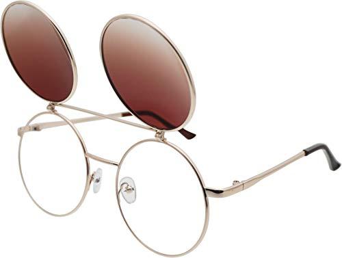 - J&L Glasses Retro Flip-Up Round Goggles Seampunk Sunglasses (Goden,Amber, Clear)
