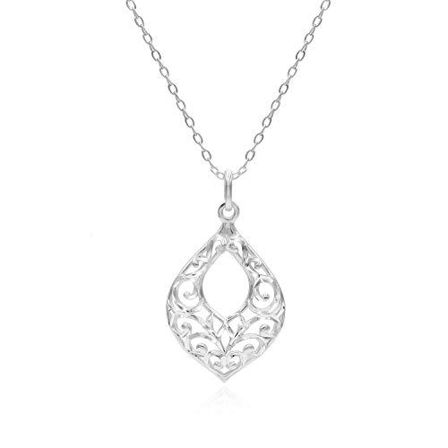 Sterling Silver Diamond-Cut Filigree Teardrop Pendant Necklace
