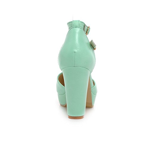 Heeled Strap Pump Womens Green Shoes Buckle toe AIWEIYi Platform Round High RwI4qx0px