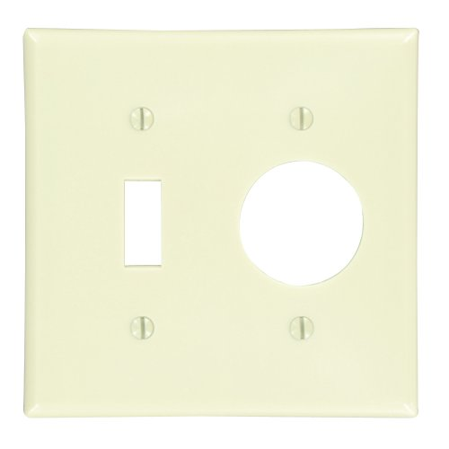 Leviton 86007 2-Gang 1-Toggle 1-Single 1.406-Inch Diameter, Device Combination Wallplate, Thermoset, Device Mount, Ivory
