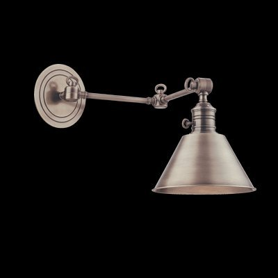 Garden City 1-Light Wall Sconce - Antique Nickel Finish with Antique Nickel Metal Shade - Hudson Valley Lighting Nickel Antique Sconce