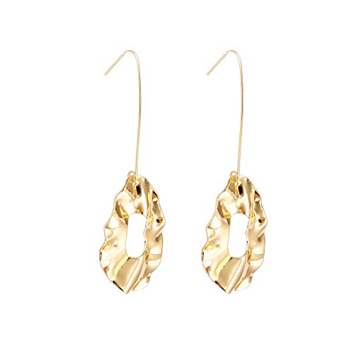 - YOMEGO 14K Gold French Hook Drop Earrings - Hammered Gold Dangle Earrings for Women, Good Idea of Fashion Jewelry Gift (Gold Twisted Lip)