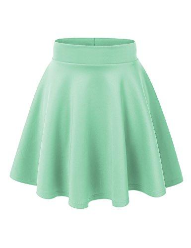 MBJ WB669 Womens Basic Versatile Strechy Flare Skater Skirt S SEA_Green