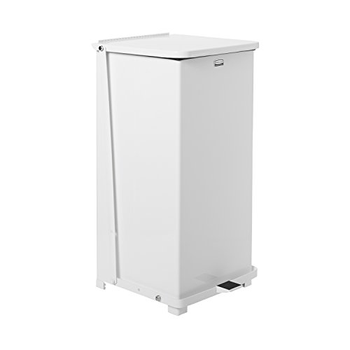Rubbermaid Commercial Defenders Front Step-On Trash Can, 24 Gallon, White, FGST24ERBWH - Defenders Step