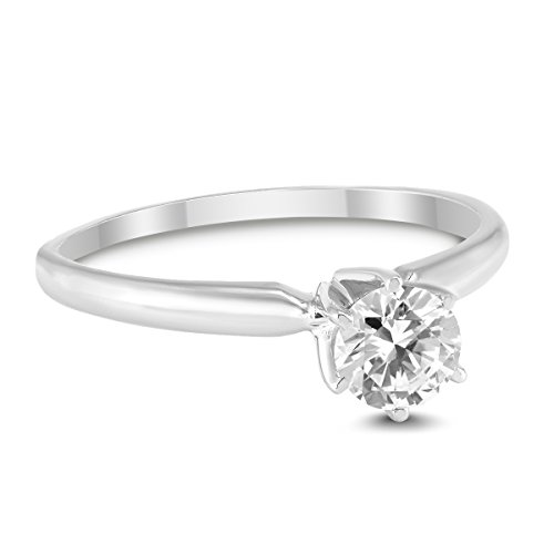 3/8 Carat Round Diamond Solitaire Ring in 14K White Gold ()