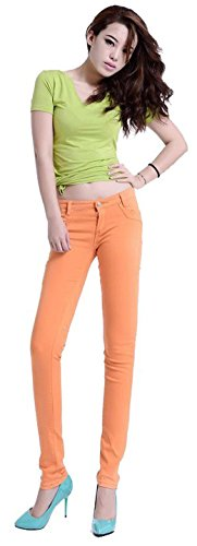 Jeansian Mujeres Candy Fashion colores Solid Pencil pantalones Slim Fit Skinny Jeans Stretch pantalones caliente W099 Orange_16