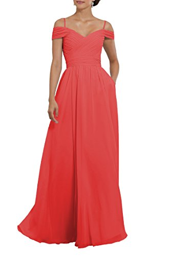 YORFORMALS Women's Off The Shoulder Pleated Chiffon Long Bridesmaid Dress Formal Party Gown with Spaghetti Straps Size 12 ()