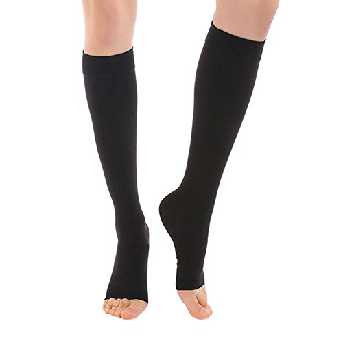 Mwfus Women Medical Compression Socks Knee High Toe Open Stockings For Varicose Veins And Edema (55 Open Toe Ladies Shoes)