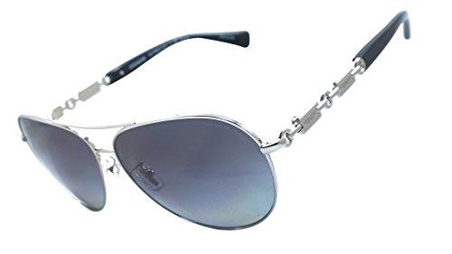 Coach Hc7048 (L107) 100% Authentic Women's Polarized Sunglasses (Silver / Black) 9015t3