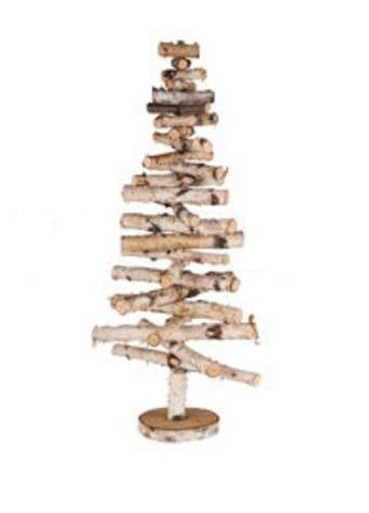 255 country cabin decorative movable wooden birch bark christmas tree - Wood Christmas Tree