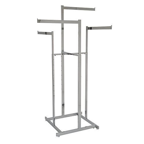 "Clothing Rack – Chrome 4 Way Rack, High-Capacity, Blade Arms, Square Tubing, Perfect for Clothing Store Display With 4 Straight Arms 22"" Length by Econoco"