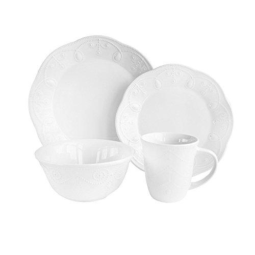American Atelier 16 Piece Pointelle Dinnerware Set, White (White Stoneware Dishes)