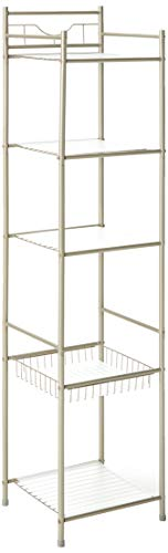 n Height-Bathroom Shelving Unit Storage Corner Shelf Organization Rack, Silver ()