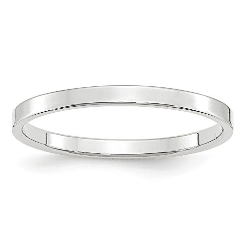 Solid 14k White Gold 2mm Flat Wedding Band Size (14k Gold Flat Wedding Band)