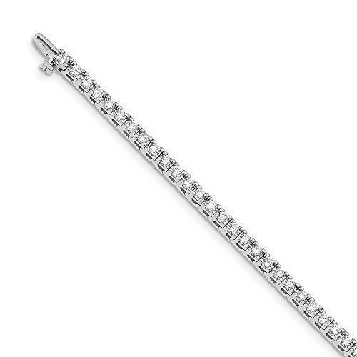 Mia Diamonds Solid 14k White Gold 3.00ctw. Near Colorless Moissanite 4 Prong Tennis Bracelet
