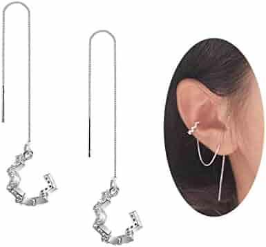 FarryDream 925 Sterling Silver New Arrival Wave Cuff Earrings Wrap Tassel Earrings for Women Threader Earrings Perfect Valentine's Day Gifts