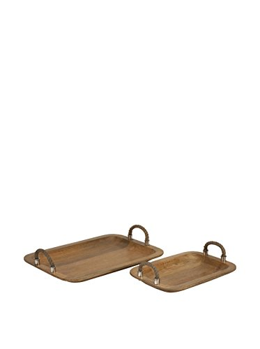 IMAX 71727-2 Tabari Wood Trays with Jute - Mango Wood Tray Shopping Results
