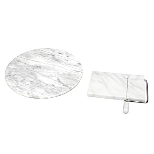 Creative Home 32910 Set of 2 Pieces Natural Marble Table Top Serving Set Includes Lazy Susan and One Cheese Slicer, 12