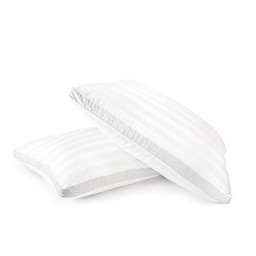 Sleep Restoration 1500 Series Gusset Gel Pillow Plush Cooling Gel Fiber - Hypoallergenic & Dust Mite Resistant (2 Pack Queen)