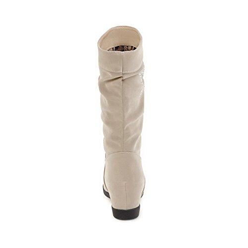 ABL09974 Beige Wedges Womens Suede Rhinestones Boots Platform BalaMasa n70xYwqCRa