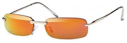 Herren Sonnenbrille Rechteckbrille New Wayfarer Matrix Evo Aviator Fliegerbrille, Rahmenfarbe:Rot