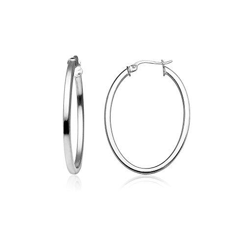Sterling Silver 2mm Oval Square-Tube Hoop Earrings, 30mm Oval Loop Earrings