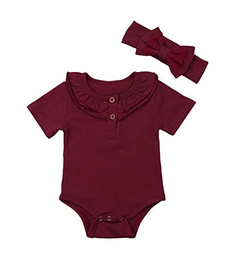 (Infant Toddler Baby Girl Top Basic Plain Ruffle T-Shirt Blouse Casual Clothes (0-3 Months, 2 Wine))