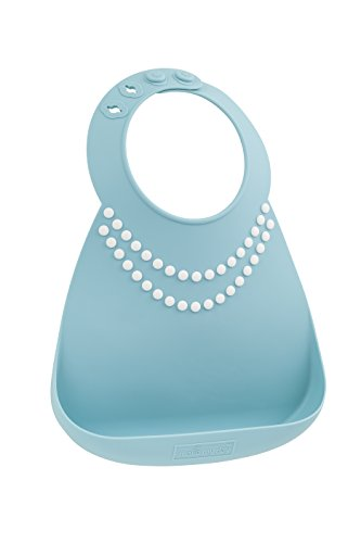 Make My Day Soft Silicone Baby Bib Blue/white with Pearls