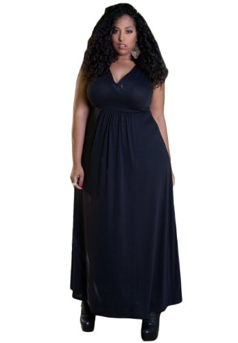 SWAK Designs Womens Plus Size Sleeveless Bonnie Maxi Dress (Jewels) 6X Black