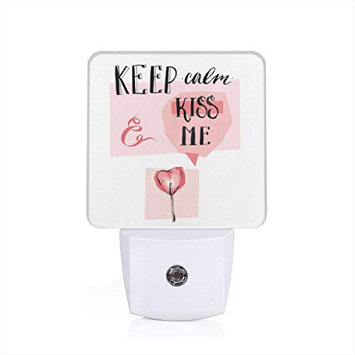 Colorful Plug in Night,Kiss Me Speech Bubble Heart Shape Lollipop in Pink Pastel Colors Romantic,Auto Sensor LED Dusk to Dawn Night Light Plug in Indoor for Childs Adults -