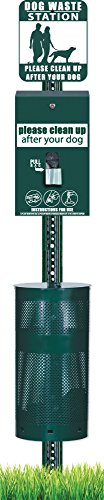- Dog Waste Station -Free 400 waste bags and 50 can liners -ONEPul - Round Can - D022-B