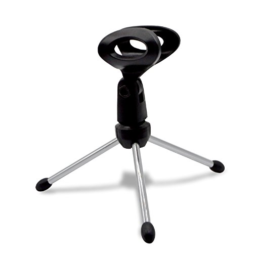 Tripod Microphone Stand, eBerry Foldable Desktop Microphone Tripod Stand Holder Bracket with Mic Clip for Podcasts, Online Chat, Conferences, Lectures, and More
