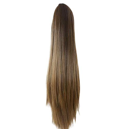 Womens Claw Thick Long Straight Clip in Double Weft Hairpiece Ombre Ponytail Hair Extensions 24 Inches