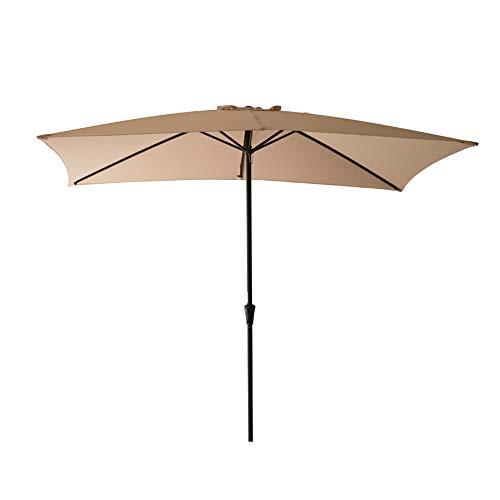 C-Hopetree Rectangular Outside Market Patio Umbrella for Rectangle Outdoor Table Deck Garden 6'6″ x 10′ with Crank, Beige
