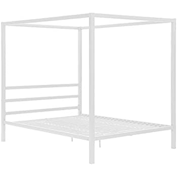 dhp modern canopy white metal bed queen
