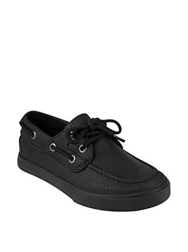 French Toast Kid's Jacob Boat Shoe, Black, 2 M US Little Kid (Deck Tie Shoes)