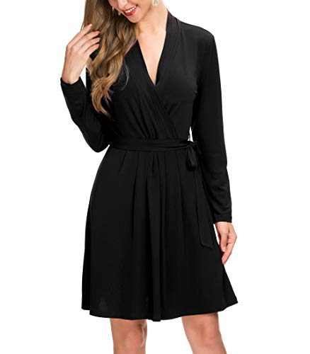 Le Vonfort Formal Dresses for Women, Fashion Cute Self-tie Surplice Faux Wrap Dress with Belt Black XX-Large ()