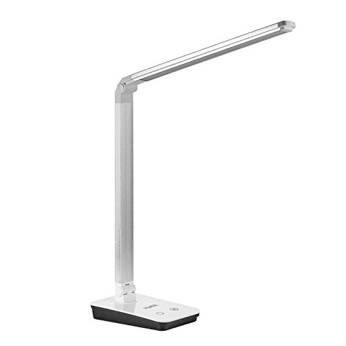 HaMi Dimmable LED Desk Lamp, 4 Lighting Modes, 13W Eye-caring Stepless Dimming Table Lamps With Touch Control, Folding Desk Lamps, Reading Lamps, Bedroom Lamps - Silver