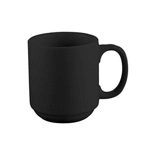 CAC China PRM-12-BLK Venice 12-Ounce Black Stoneware Round Stacking Mug, 3-1/4 by 3-1/4 by 3-5/8-Inch, 36-Pack