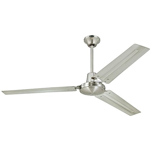 Westinghouse 7861400 Industrial 56-Inch Three-Blade Indoor Ceiling Fan, Brushed Nickel with Brushed Nickel Steel Blades by Westinghouse