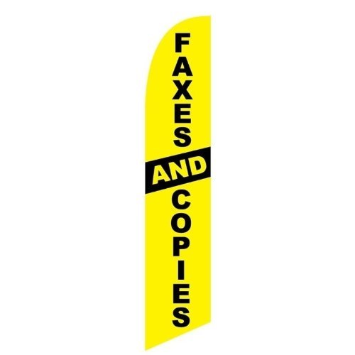 Swooper Advertising Flag Faxes And Copies Yellow Black