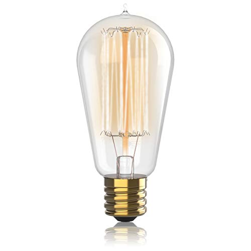 (1 Pack - 60 watt Vintage Edison Bulb - Squirrel Cage Filament - 120 Volts - Dimmable - 230 Lumens - 2700k - E26 - ST58 Teardrop Top)